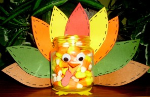 Turkey Treat Jar KIDS GLITTER Thanksgiving For Kids