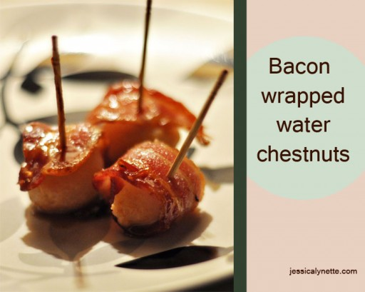 bacon wrapped water chestnuts 512x409 Bacon Wrapped Water Chestnuts