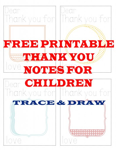 thank you note 395x512 Free Printable Thank You Notes for Children