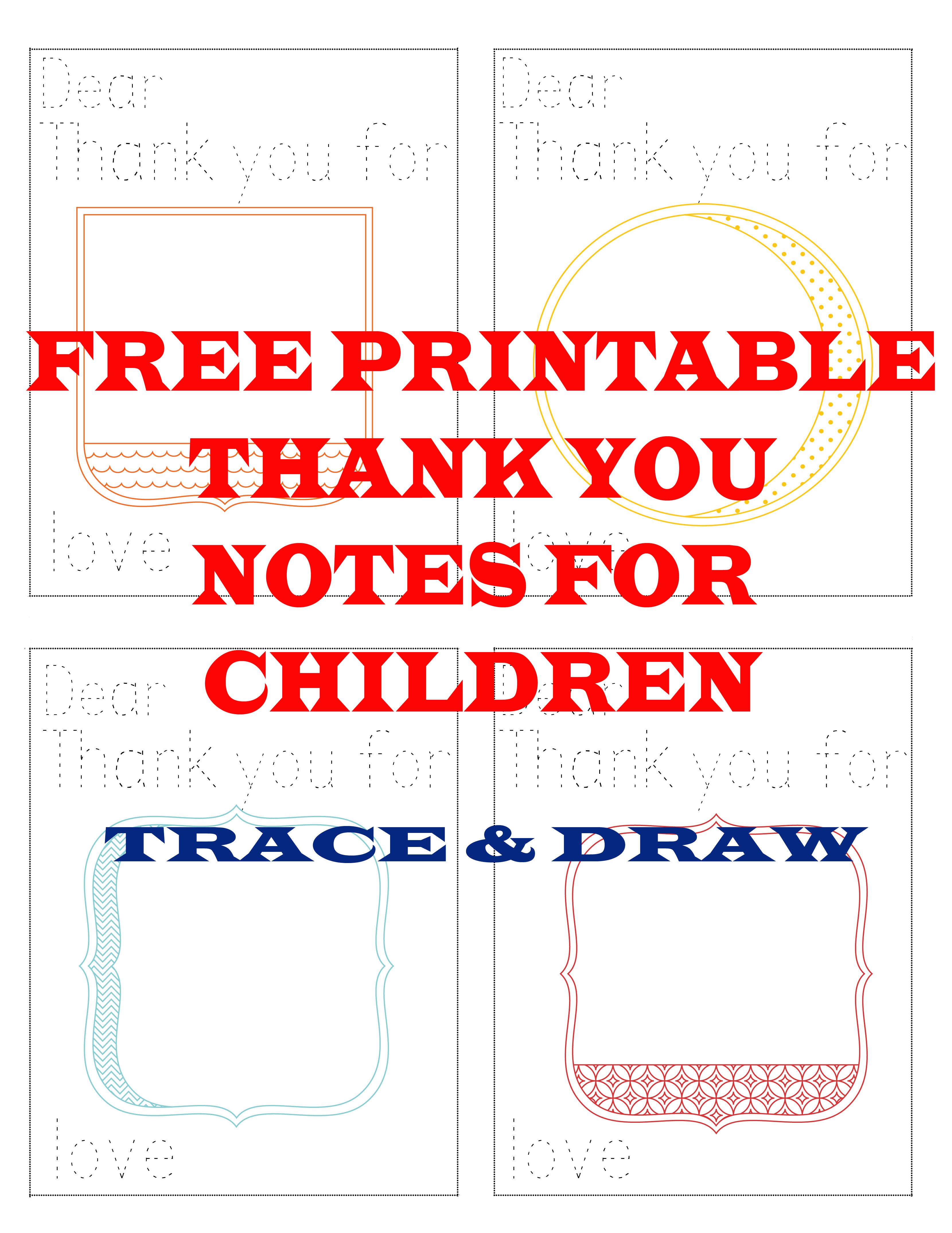 Free printable thank you notes for children jessicalynette com