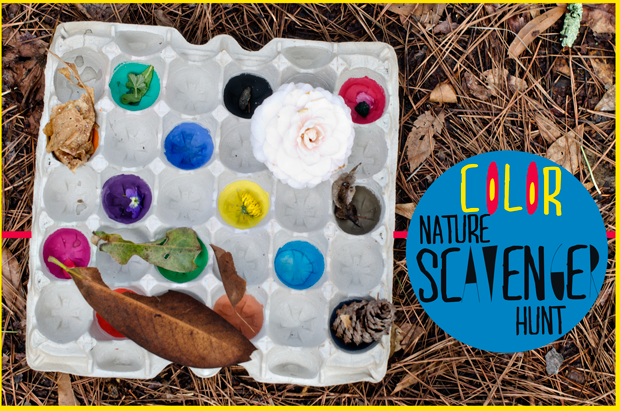 A Color Nature Scavenger Hunt to get children outdoors, exploring & observing