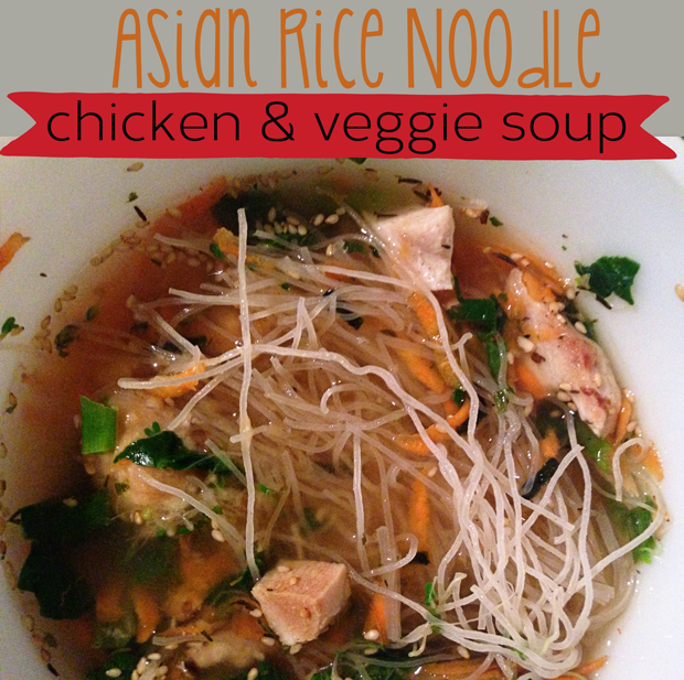 Asian Rice Noodle Soup with Chicken and Veggies