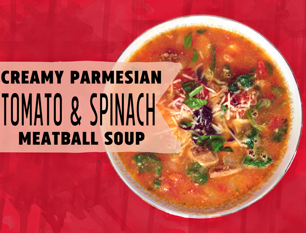 This Creamy Parmesan Tomato and Spinach Meatball Soup Recipe is creamy, rich and hearty. A perfect meal on a chilly day!