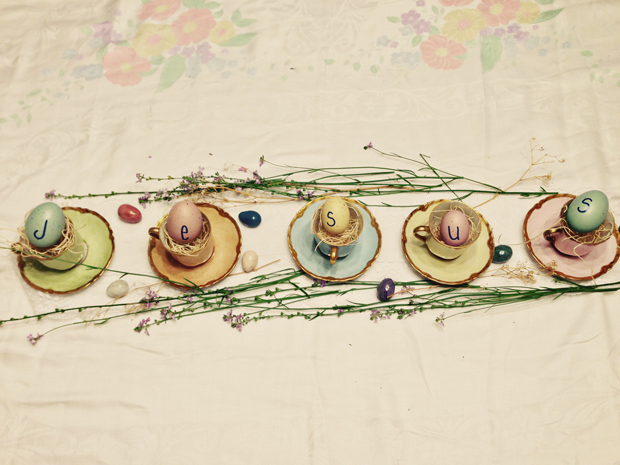 Easter table center piece - Jesus written across eggs, and placed in tea cups