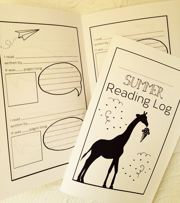 Summer reading log printable for keeping track of books read and enjoyed through the summer months