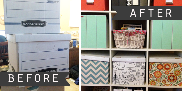 Fabric Covered Banker Boxes | cheap organization solution