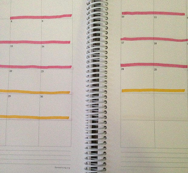 Organizing the homeschool year with 6 six week long terms; highlighters and post it notes are the best tools to help keep track of what fits where in the schedule.