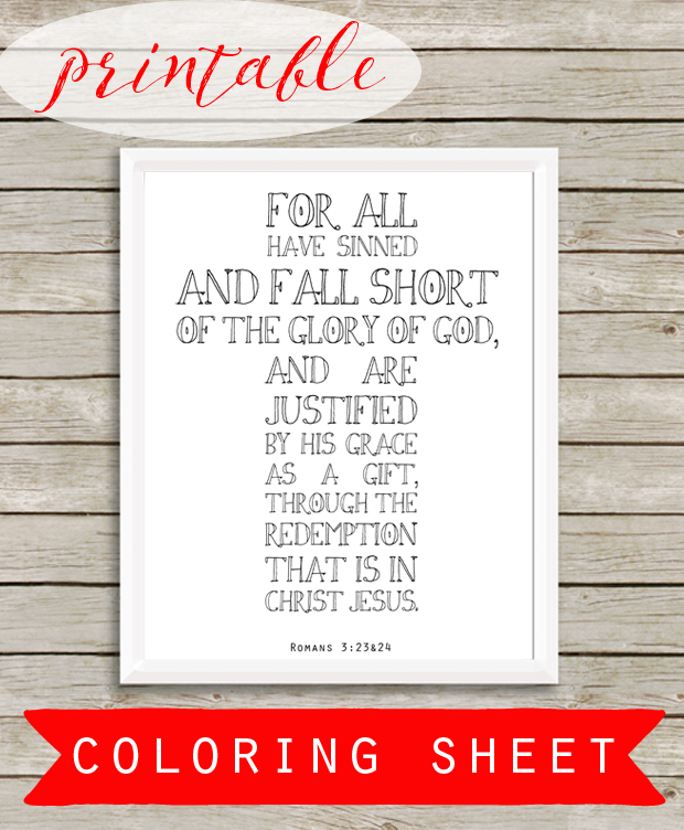 Romans 3:23&24 - a Bible verse printable coloring sheet