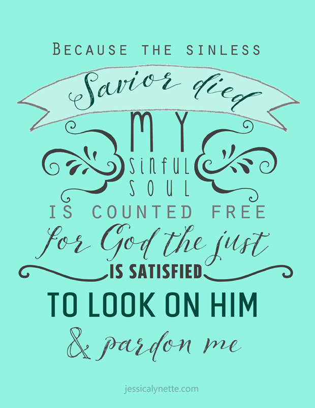 Before the Throne of God Above   Hymn Lyrics   Because the sinless Savior died, My sinful soul is counted free; For God the just is satisfied To look on Him and pardon me To look on Him and pardon me