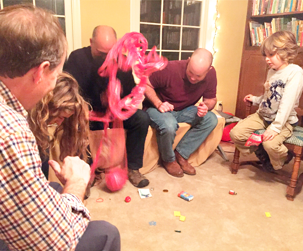 Christmas games - plastic wrap ball with trinkets inside